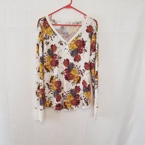 Time and Tru Long Sleeved Henley Blouse 2XL